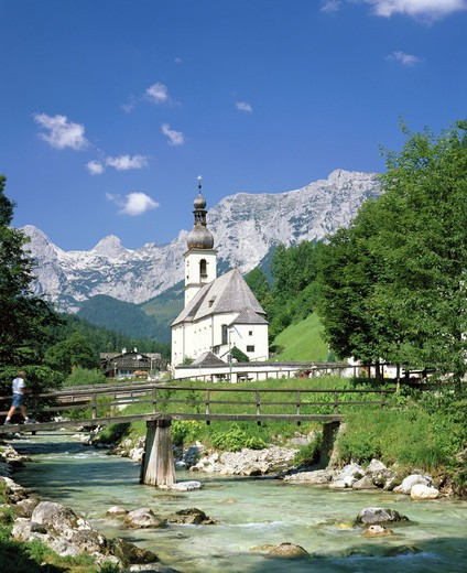Stock Photo: 1597-111446  view, near Berchtesgaden, mountains, bridge, Germany, Europe, river, flow, scenery, Upper Bavaria, parish church, Ra