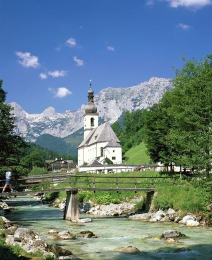 view, near Berchtesgaden, mountains, bridge, Germany, Europe, river, flow, scenery, Upper Bavaria, parish church, Ra : Stock Photo