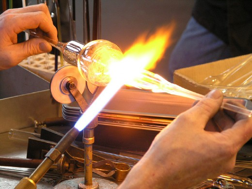 Stock Photo: 1597-111591 art craft, flame, glass, Glass bubbles, glassblowers, glassware, hands, workshop,