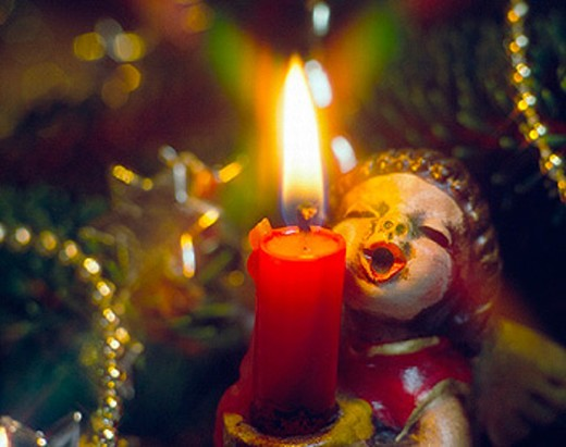 Stock Photo: 1597-11183  emotion, angel, celebration, party, fête, parties, fêtes, feeling, emotion, candle, candle flame, candle light, ligh