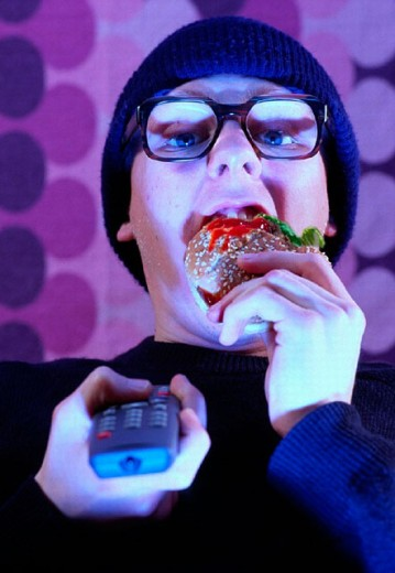 glasses, Burger, hamburger, food, eating, emotion, food, feeding, food, eating, eating, Fast Food, remote control, t : Stock Photo