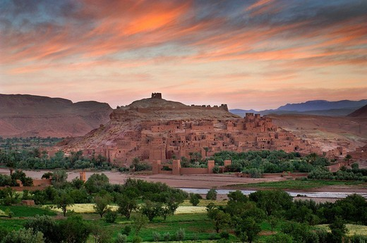 Stock Photo: 1597-112060  Kasbah Ait Benhaddou, town, city, scenery, mood, dusk, twilight, Morocco, Africa, North Africa