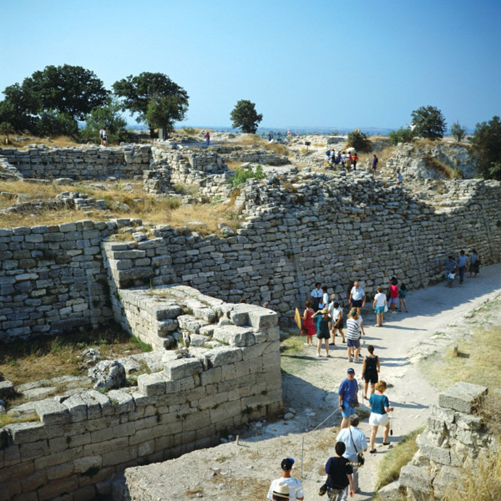 Stock Photo: 1597-112458  culture, walls, east gate, ruins, tourists, Troy, Truva, Turkey,