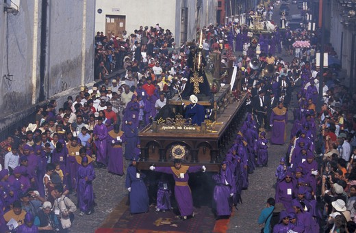 Stock Photo: 1597-112502 Easter Procession, Semana Santa, Holy Week, Antigua, Guatemala, Central America, Christianity, Procession, Easter, Rel