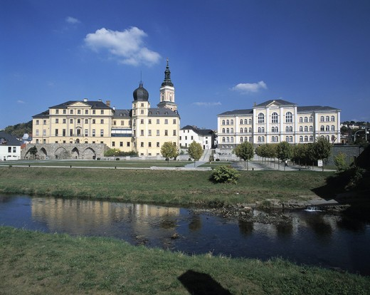 Stock Photo: 1597-112615 Greiz, lower, castle, church Saint Marien, high school, Weisse Elster, Vogtland, Thuringia, Germany, Europe, Europe