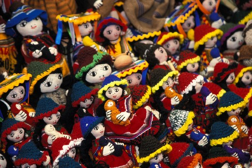 Stock Photo: 1597-112840 2004, America, American, attraction, colors, different, dolls, highland, Inca, Indian, labor, manual, market, materi