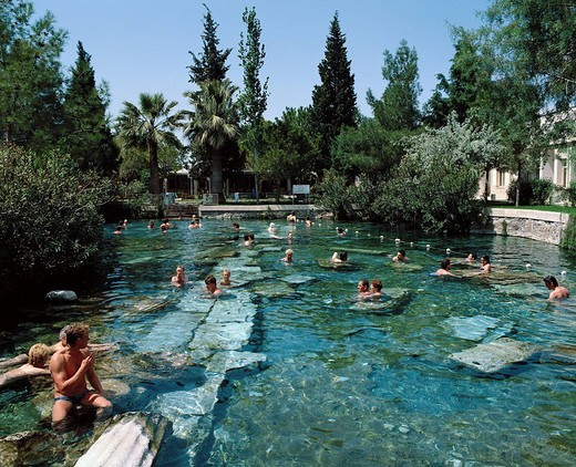 Turkey, Pamukkale, thermal bath, bathers, trees, bathing, : Stock Photo