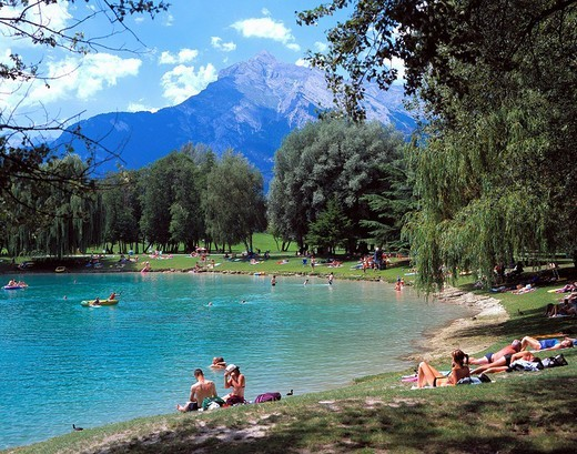 Switzerland, Europe, canton Valais, Sion, Les Iles, bath lake, sea, bathing, person, Alps, mountains, camping, spare t : Stock Photo