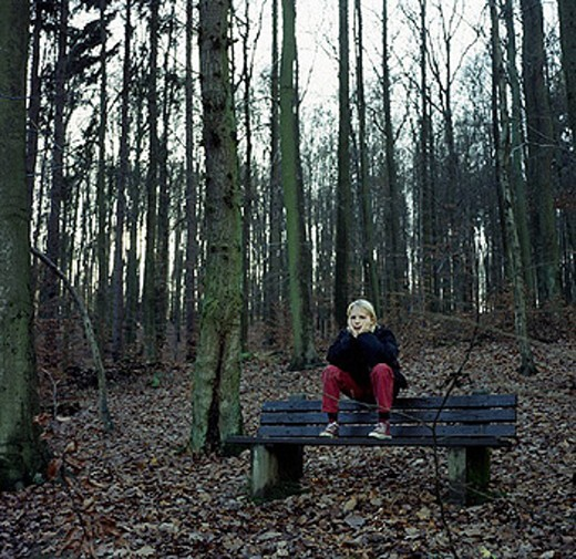 Stock Photo: 1597-11301  teenager, youngsters, produced, apart, alone, sombre, gloomy, lonely, loneliness, emotion, feeling, emotion, autumn,