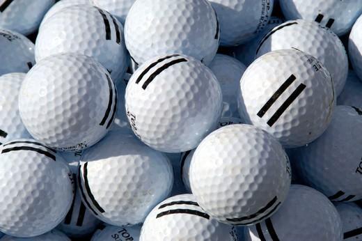 Stock Photo: 1597-113102 Gulf balls, balls, heaps, gulf, golf, patern, structure, concepts