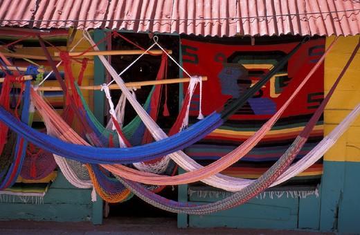 Hammock, Isla Mujeres, Mexico, Central America, America, Quintana Roo, shop, Townsite, : Stock Photo