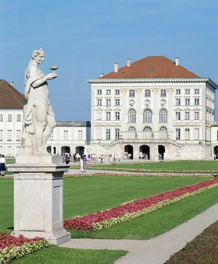 Bavaria, flowers, Germany, Europe, Munich, Bavaria, park, sculpture, castle, castle, Nymphenberg, : Stock Photo