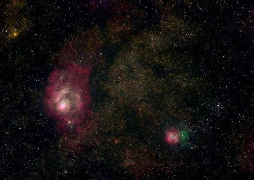 Lagoon Nebula, Trifid Nebula, M8, M20, NGC 6523, NGC 6514, Sagittarius constellation, space, outer space, universum, g : Stock Photo