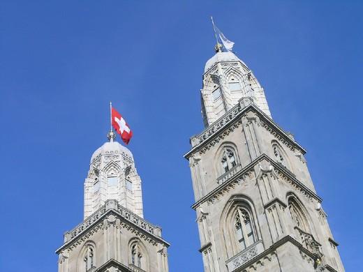 belfries, bell, city, Grossmunster, minster, church, landmarks, sky, Switzerland, Europe, towers, town, Zurich, : Stock Photo