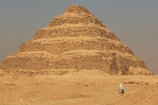 pyramid, step pyramid, donkey, rider, Sakkara, Egypt, North Africa, : Stock Photo