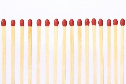 Match, Row, White Background, Studio, Matches, Fir : Stock Photo