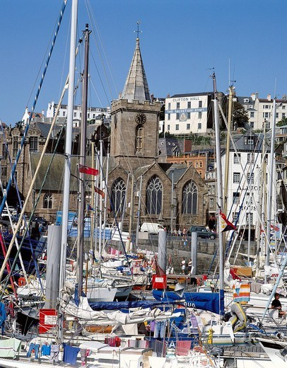 England, Great Britain, Europe, Channel Islands, Guernsey, Saint Peter port, harbour, port, sail boats, church, : Stock Photo
