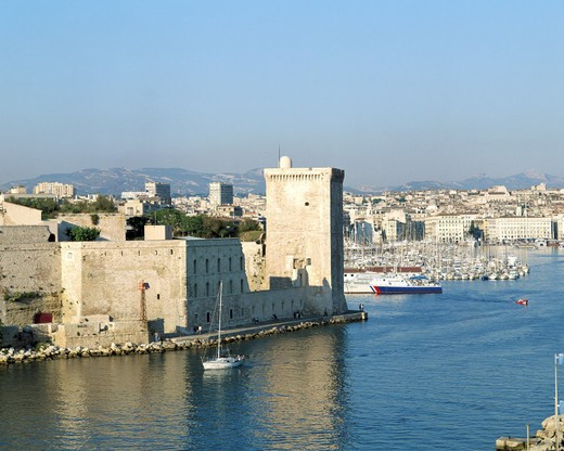 old harbour, port, fort, France, Europe, Saint Jean, Marseille, South of France, Europe, : Stock Photo
