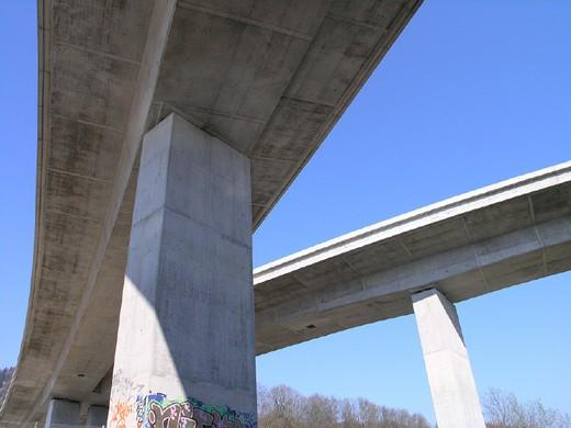 bridge, bridges, city, concrete, graffiti, highway, Highway bridges, Sihl, overview, Switzerland, Europe, town, traf : Stock Photo