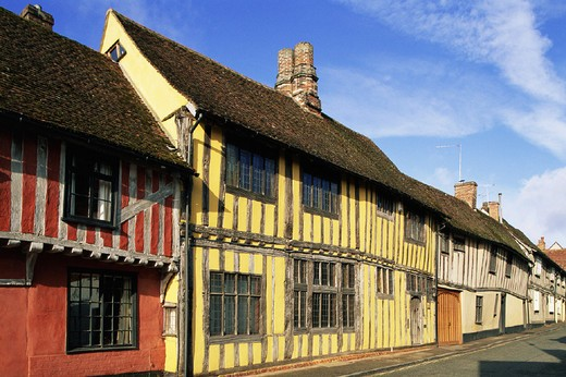 Architecture, Britain, British Isles, England, Europe, Gabled, Great Britain, Europe, Historical, Lavenham, Medieval : Stock Photo