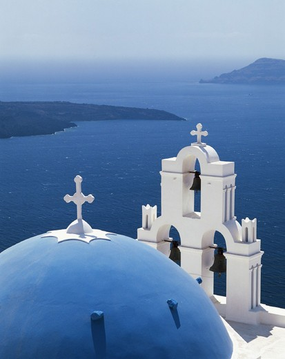 blue, bell tower, belfry, Greece, church, dome, coast, Cyclades, sea, Santorini, Thera, Thira, typical, white, : Stock Photo