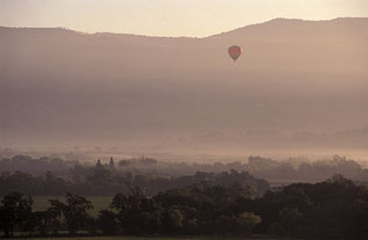 Stock Photo: 1597-115578 Air, Balloon, California, Wine Country, Hot air balloon, Napa Valley, near Oakville, sunrise, USA, America, United S