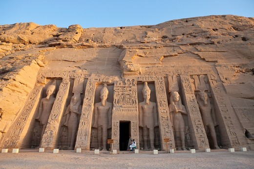Small Hathor Temple of Nefertari, Abu Simbel, Egypt : Stock Photo