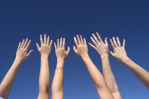 Arms, hands, hold up, holding up, sky, stretch, symbol, teenagers, three, girls, youngsters : Stock Photo
