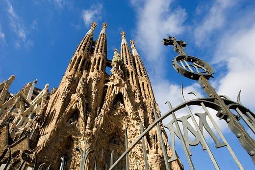 Spain, Europe, Sagrada Familia Cathedral, Barcelona City, Antoni Gaudi, UNESCO, World heritage site, architecture, lan : Stock Photo