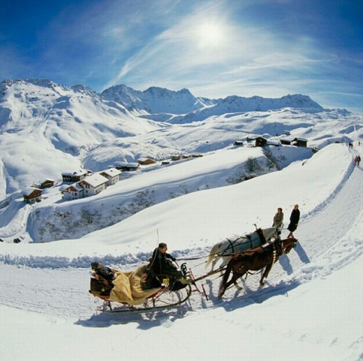 Stock Photo: 1597-1162  Arosa, mountain panorama, Graubünden, Grisons, horse sledge, Switzerland, Europe, winter,