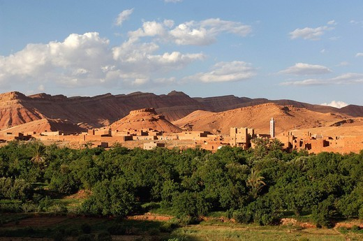 Ait Benhaddou, Morocco, Africa, North Africa, , Kasbah Tamdaght, scenery, : Stock Photo