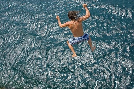 Stock Photo: 1597-116644 Lake Garda, Italy, Europe, June 2007, man, jump, jumping, refreshing, refresh, fresh, wet, water, cold, summer, hot, s
