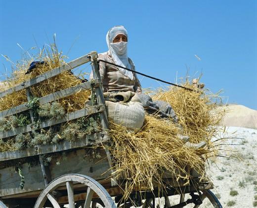 Stock Photo: 1597-116748  woman, Göreme, valley, haycart, people, mule, veil, Turkey,
