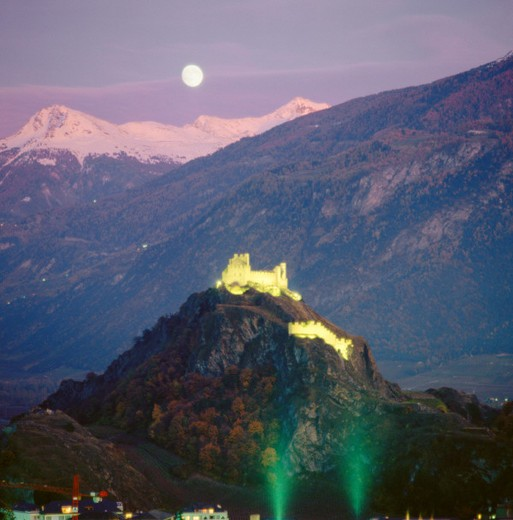 10169445, afterglow, castles, full moon, hill, : Stock Photo