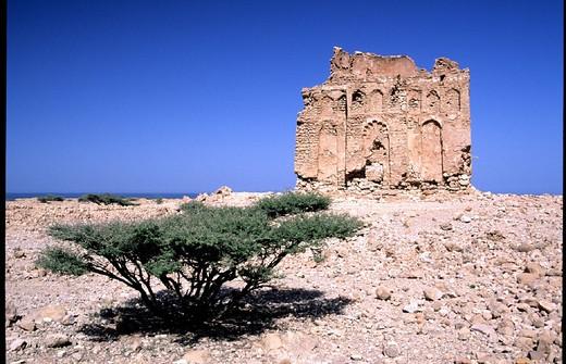old, coast road, Quriyat Sur, mausoleum Bibi Miriam, Oman, UAE, Arab Emirates, Middle East, Qualhat, ruins, : Stock Photo