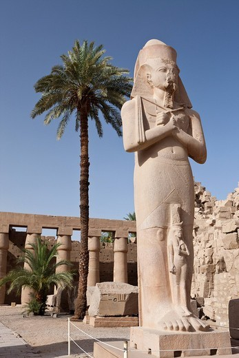 Statue of Pinodjem inside Karnak Temple, Luxor, Egypt : Stock Photo