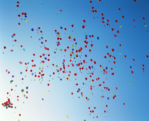 opening ceremony, party, fête, sky, many, bright, colours, sky, fly, aerial balloon, : Stock Photo