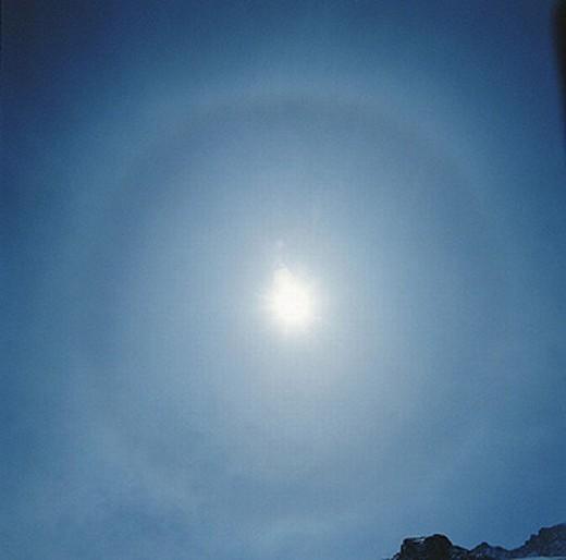 Halo ring, cold, mood, sun, sky, blue : Stock Photo