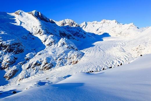 Wannenhörner und, im Winter, Wallis, Schweiz : Stock Photo