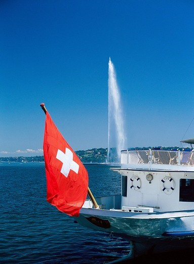 Switzerland, Europe, town, city, of Geneva, Switzerland, Europe, Geneve, jet d´Eau, fountains, jet, fountain, paddle s : Stock Photo