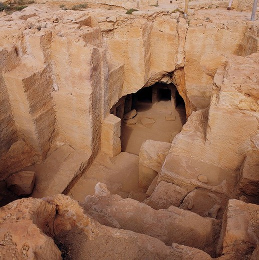 Cyprus, culture, Paphos, king´s grave, burial chamber, cellar, : Stock Photo
