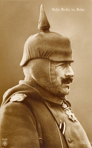 Stock Photo: 1597-118348 William II, German Emperor, near 1916, history, historical, historic, prussian, Pickelhaube, spiked helmet, side_face,