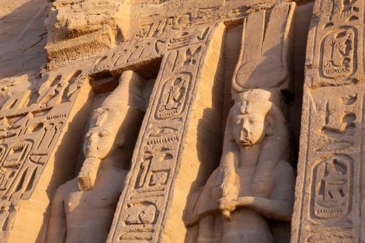 Statue at Front of Small Hathor Temple of Nefertari, Abu Simbel, Egypt : Stock Photo