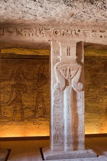 Pillar in Small Hathor Temple of Nefertari, Abu Simbel, Egypt : Stock Photo