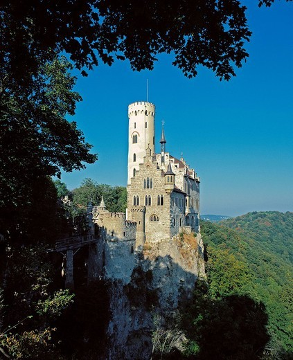 Germany, Europe, Baden_Wurttemberg, Honau, castle, Lichtenstein, Wood, Forest, : Stock Photo
