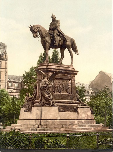 Kaiser Wilhelm I Memorial, German Emperor, Frankfurt on Main, Hessen, Germany, Europe, Photochrom, about 1900, German : Stock Photo