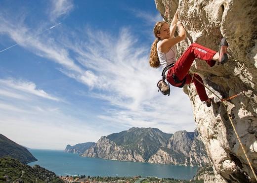 Stock Photo: 1597-119182 Climbing, Arco, Lake Garda, Italy, Europe, September 2006, free climbing, sports, rock face, cliff, cliffs, mountains,