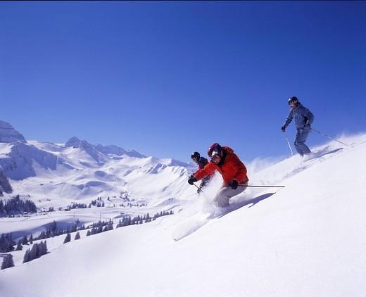 winter, ski, skiing, skier, group, Alps, mountains, winter sports, Adelboden, Bernese Oberland, Canton Bern, Berne, Sw : Stock Photo