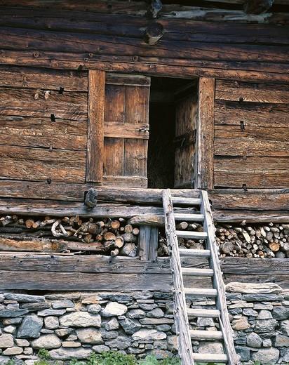 Stock Photo: 1597-119658  house, home, an easy, simple, door, leader, ladder, wood, memory, warehouse, Bosco Gurin, Ticino, Switzerland, Europe,