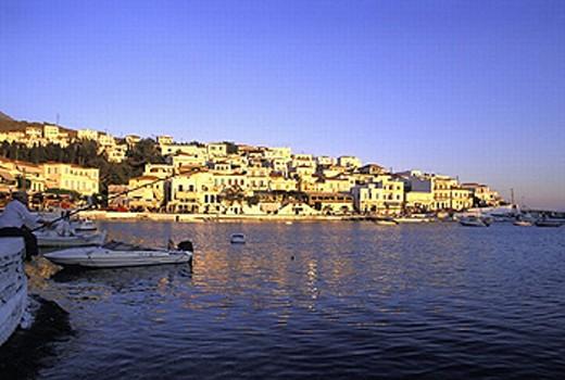 Andros, angle, anglers, Batsi, boats, city, coast, dusk, fish, fishing, Greece, Europe, island, isle, mood, sea, Cyc : Stock Photo